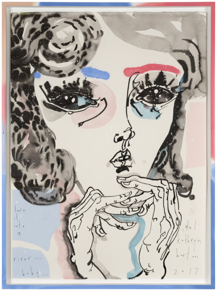 Del Kathryn Barton turn it into a river - baby, 2017; ink and acrylic on hot press paper; 80.5 x 60.5 cm; Enquire