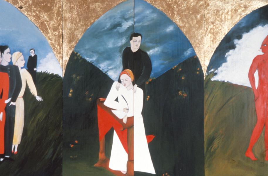 Vivienne Shark LeWitt Goodness Always Triumphs Over Evil, 1984; acrylic on wood, 2 panels; 116 x 75 cm; enquire