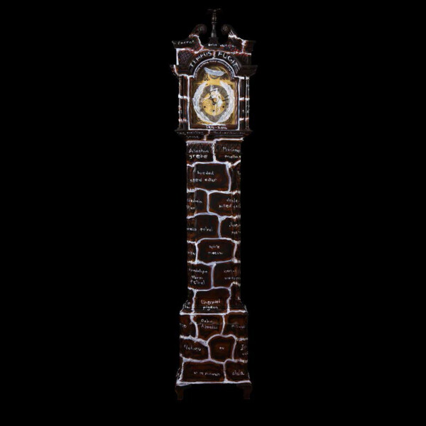 Fiona Hall Wrong Way Time, 2014; oil on long case clock; 193 x 42 x 23 cm; enquire
