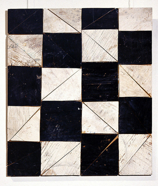 Rosalie Gascoigne Strictly Ballroom, 1996; sawn wood on wood; 82 x 71 cm; enquire