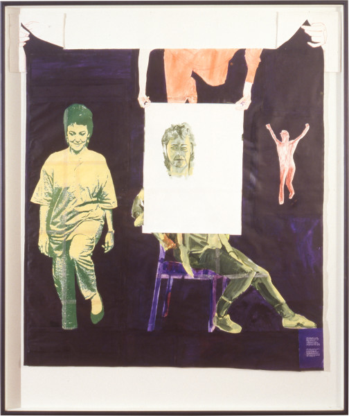 Geoff Lowe Irene Bolger, a Drawing, 1990; laser photocopy, gouache, synthetic polymer paint and conte on various papers; 208 x 195 cm; enquire