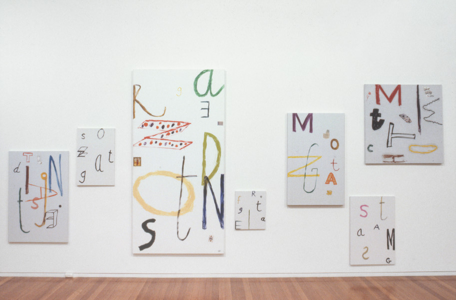 Jenny Watson Days Of The Week In German, 1991; oil & attachments on primed linen; Montag 122 x 60 cm, Dienstag 121.5 x 81 cm, Mittwoch 165 x 165 cm, Donnerstag 244 x 122 cm, Freistag 50 x 40 cm, Samstag 91 x 61 cm, Sontag 60 x 51 cm; enquire