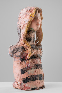 Linda Marrinon Woman with striped top, 2020; plaster, hessian, foam; 50 x 26 x 16 cm; enquire
