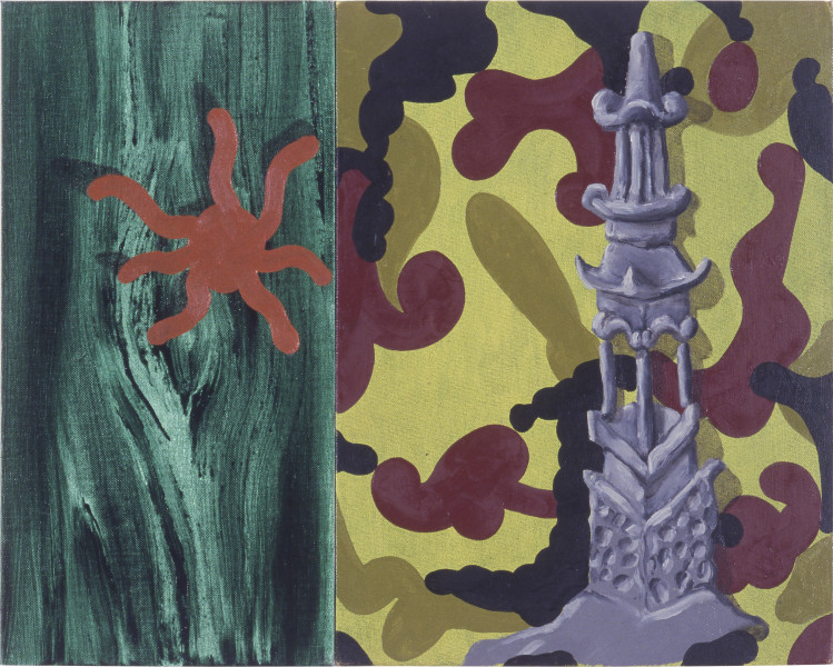 Tony Clark Chinoiserie Landscape, 1987; oil on three canvasboards; 40.5 x 50.7 cm; enquire