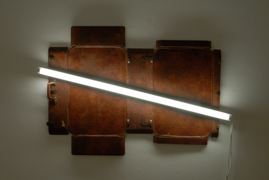 Bill Culbert Hayman, 2009; leather suitcase, fluorescent light; 100 x 150 x 10 cm; enquire