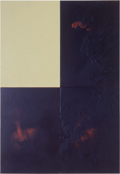 Lindy Lee Entry into the Inconceivable, 1999; oil, acrylic, wax and photocopy on Stonehenge paper on board, 4 panels; 82 x 57 cm; enquire