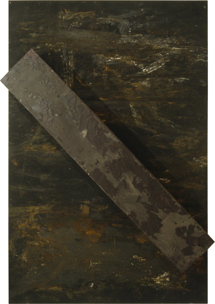 Mike Parr Barred I (OR), 1993; wax and earth pigments on plywood; 360 x 240 x 51 cm; enquire