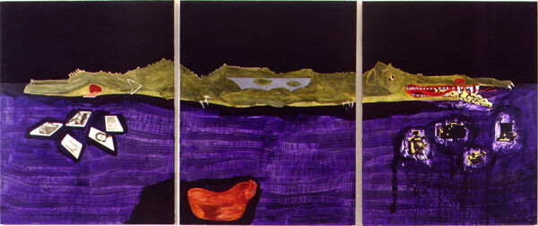 Geoff Lowe Tower Hill: Painting Devours Everything, 1995; synthetic  polymer paint, gold & silver leaf, rice paper on linen; 152 x 122 cm; 3 panels each 125 x 122 cm; enquire