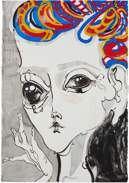 Del Kathryn Barton now can i share my wonderful news with you..., 2019; acrylic on paper; 164 x 117.5 cm; Enquire