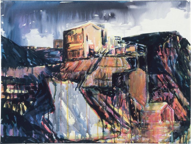 Mandy Martin Drawing for Landscape Prothesis 1, 1985; pigment, enamel paint on arches paper; 56.5 x 75.6 cm; enquire