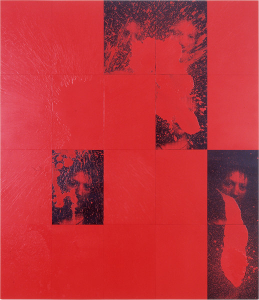 Lindy Lee Blood Radiant, 0; photocopy, oil, acrylic and wax on board; 20 panels, 166 x 146.5 cm; enquire