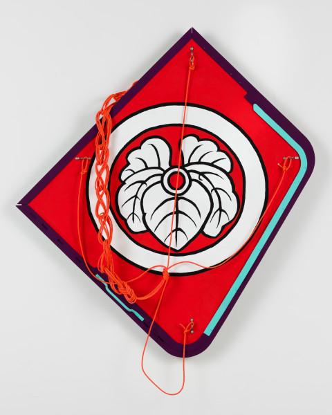 Claire Healy and Sean Cordeiro Tosa Dako, 2020; Iroquois aircraft panel, acrylic gouache, response accessory cord; 115 x 105 x 10 cm; enquire