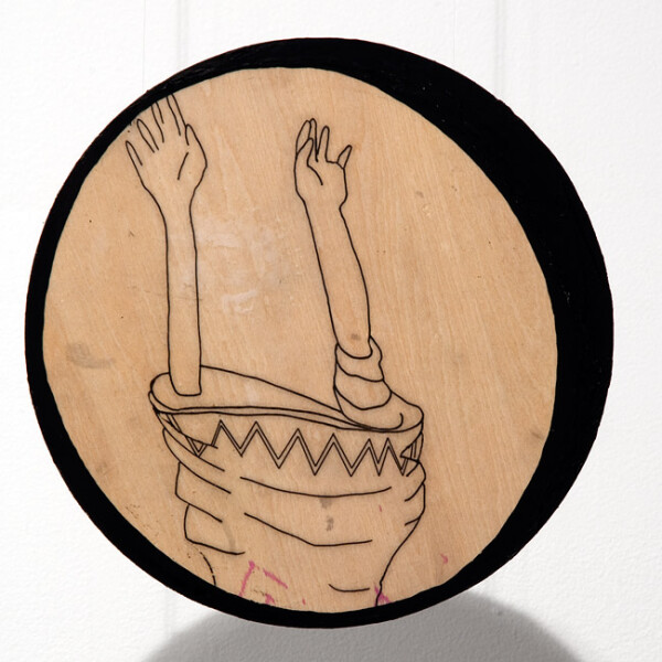 Hossein Ghaemi Indicate an attitide, 2009; drawing and pomegranate juice on wood; 20 x 20 cm; enquire