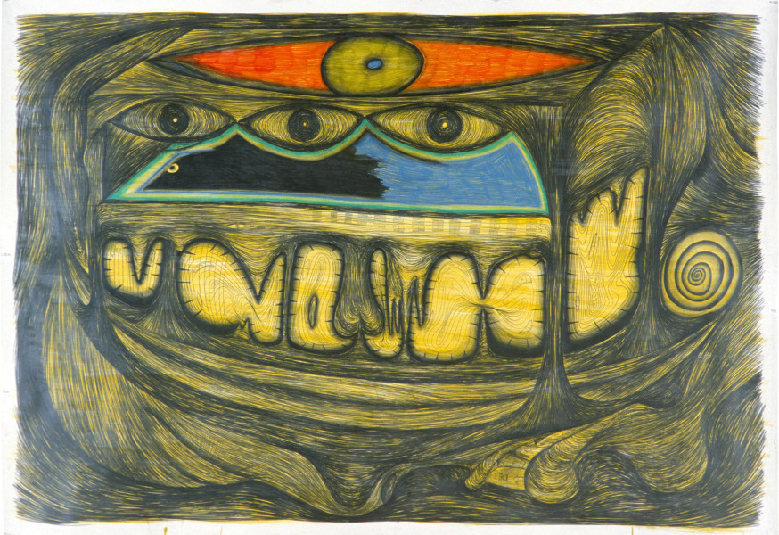 Dale Frank The Sleeping Artist and the minds eye in the Sour Ear, 1985; pencil on paper; 182 x 269 cm; enquire