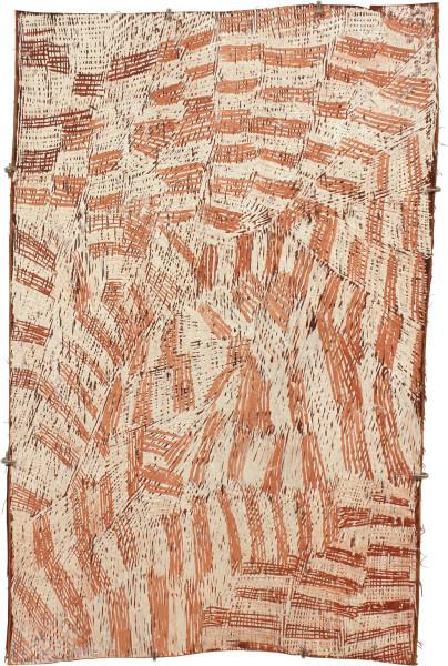 Nyapanyapa Yunupingu Pink and White, 2011; 3926X; natural earth pigments on bark; 82 x 54 cm; enquire