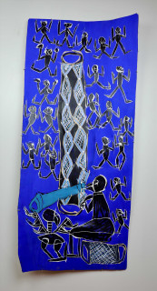 Dhambit Munuŋgurr Ganbulapula, 2020; 2714-20; earth pigments and acrylic on bark; 173 x 75 cm; enquire