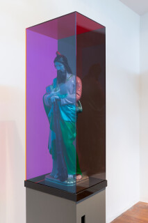 Mikala Dwyer The Letterbox St Jude, 2018; Perspex, steel, St Jude; 176 x 23 x 31 cm; enquire