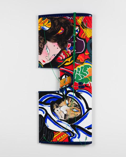 Claire Healy and Sean Cordeiro Gojo-ohashi, 2020; panel of Iroquois aircraft, acrylic gouache, polyester cord; 170 x 68 x 10 cm; enquire