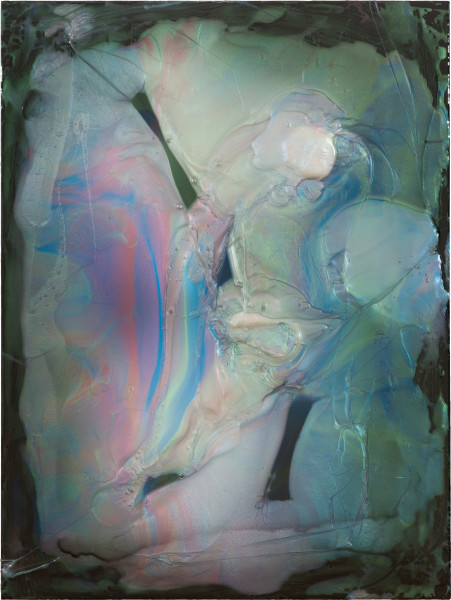 Dale Frank The Dark Lord of Testicular Torsion, 2021; Interference colour pigment in Epoxyglass, on Perspex; 160 x 120 cm; enquire