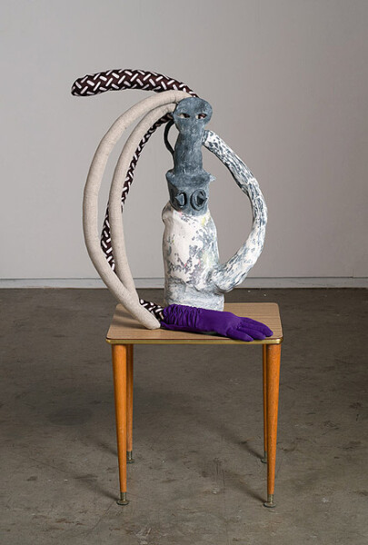 Sarah  Contos Woman (I have a nice glove not to touch you with), 2014; Glazed stoneware, plaster, calico, wire, wood, acrylic paint, cotton and linen fabric, polyfil, artists' glove; 70 x 45 x 35 cm; enquire
