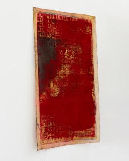 Kirtika Kain The Solar Line III, 2020; Tar, gold pigment, sindoor pigment, disused silk mesh; 113 x 70 cm; enquire