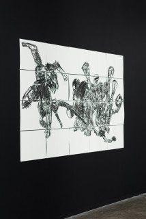 installation view; Pierre Mukeba Talking Parrot, 2021; charcoal and pastel on archival paper; 120 x 210 cm; enquire