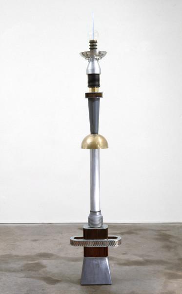Robert Owen Night Companion, 1985; steel, lead, aluminium, plastic, brass & glass; 216 x 41 x 21 cm; enquire