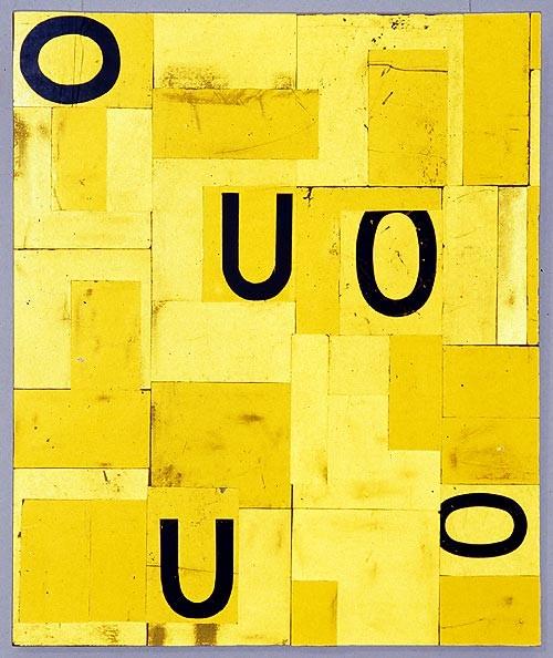 Rosalie Gascoigne Solitude, 1997; retro reflective roadsign on wood; 106 x 89 cm; enquire