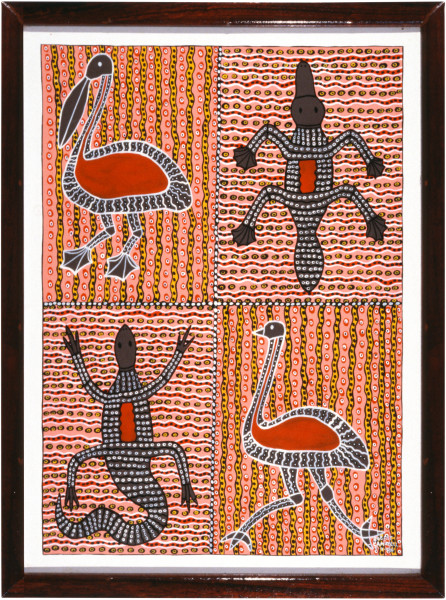 Robert Campbell Jnr Pelican, Platypus, Emu & Goanna DUPLICATE ???, 1986; acrylic on board; 97.5 x 72 cm; enquire