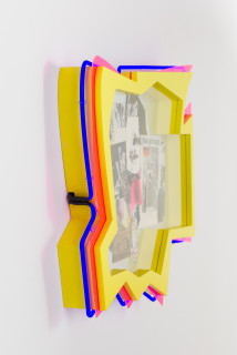 Brook Andrew This year, with Blak girl magic... (detail), 2020; paper, wood, neon, acrylic; 80 x 92 x 12 cm; enquire