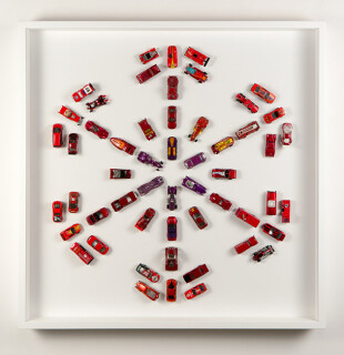 Claire Healy and Sean Cordeiro Autoflake R54, 2012; toy cars, magnets; 93 x 93 x 10 cm; (framed); enquire