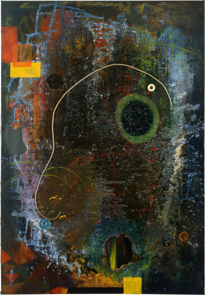 Dale Frank The Line and Round and Round of the green Fly, 1986; acrylic & mixed media on canvas; 204 x 142 cm; enquire