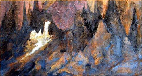Mandy Martin La Gruta, 2002; pigment, ochre, hematite, mica, wax medium & acrylic binder on paper; 30 x 56 cm; enquire