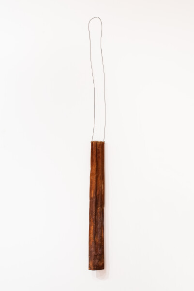 Lorraine Connelly-Northey Narrbong, 2019; CONNL - 0026; burnt corrugated iron, wire; 340 x 22 x 15 cm; Enquire