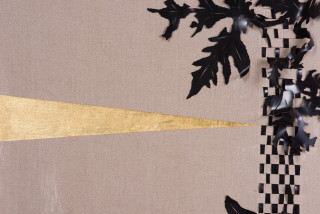 Caroline Rothwell Arrangement for The Galapagos (Pteris pedata, after Darwin) (detail), 2018; Belgian linen, PVC, 23 carat gold, hydrostone, gesso, mixed media; 107 x 107 cm; Enquire