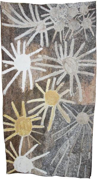 Nyapanyapa Yunupingu Untitled, 2019; 1265-19; natural earth pigments on bark; 210 x 111 cm; enquire