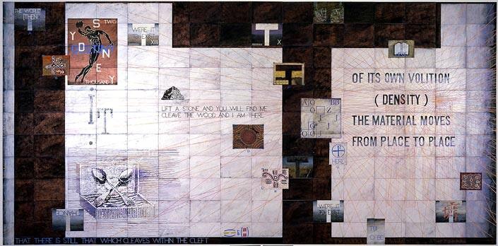 Imants Tillers Landing Sites: D, E, F, 2002; synthetic polymer paint, gouache on 170 canvasboards, nos.  66574 - 66742; 280 x 498 cm; enquire