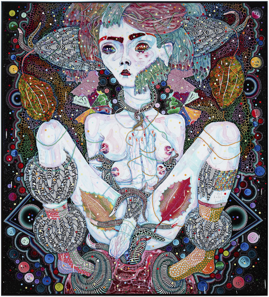 Del Kathryn Barton you will like me, 2016; acrylic on linen; 203 x 183 cm; (framed); enquire