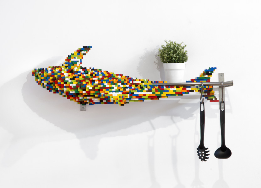 Claire Healy and Sean Cordeiro Kitchenette – Dolphin, 2014; Lego, Ikea shelf and plan; 65 x 106 x 42 cm; enquire