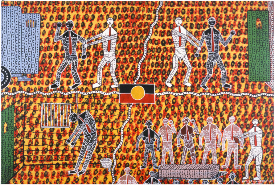 Robert Campbell Jnr Death in Custody, 1987; acrylic on canvas; 81 x 120 cm; enquire