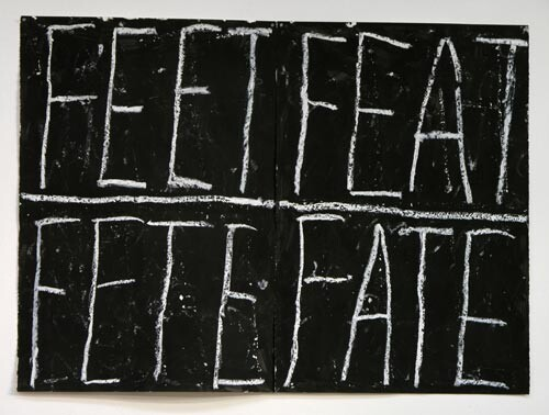 Newell Harry Anagram drawing: Feet / Feat / Fete / Fate, 2005; black gesso, oil pastel, on ironed Fabriano paper, two parts; overall dimensions: 112 cm 150 cm; enquire