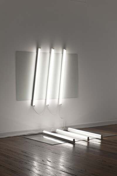 Bill Culbert Light holding pane and pane flat, 2009; glass, fluorescent lights; two parts, each: 150 x 193 x 10; enquire