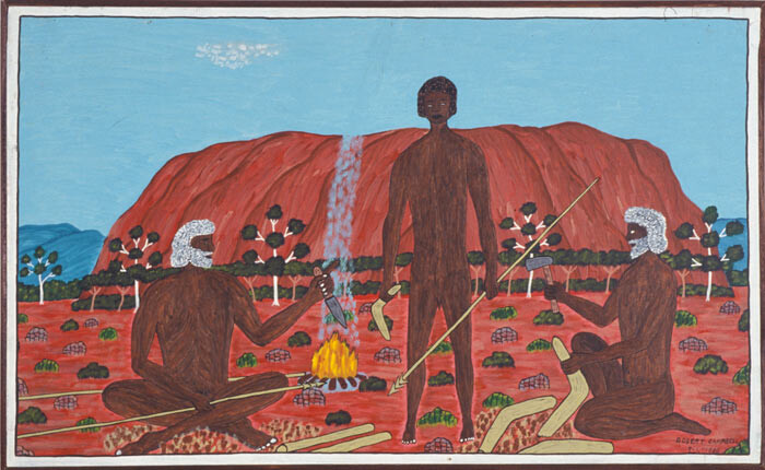 Robert Campbell Jnr Teaching to make spear and Boomerang, 1988; acrylic on canvas; 54 x 88 cm; enquire