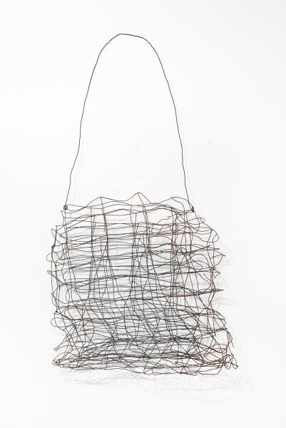 Lorraine Connelly-Northey Narrbong, 2019; CONNL - 0027; burnt mesh fencing wire; 244 x 120 x 25 cm; enquire