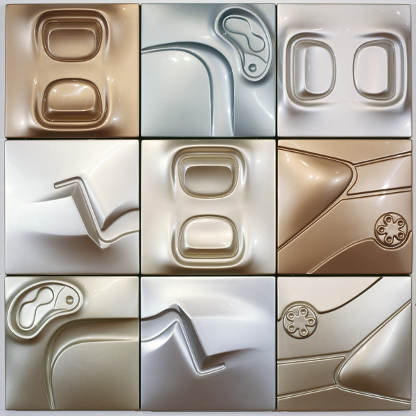 Patricia Piccinini Pearl, 2005; ABS plastic and automotive paint, 9 panels; 150 x 150 x 10 cm; each panel: 50 x 50 x 10 cm; enquire