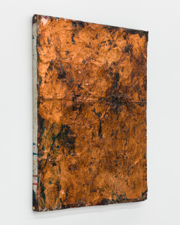 Kirtika Kain The Solar Line XXIX, 2020; Tar, screen printing emulsion, copper leaf, rice paper, disused silk screen; 60.5 x 48.5 cm; enquire