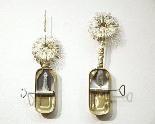 Fiona Hall Sardonic: black boy & black gin (Xanthorrhoea australis & Kinga australis), 2005; tin and aluminium; 2 pieces: 22 x 7.5 x 2.5cm; 21.5 x 7.5 x 2.5cm; Edition of 10; enquire