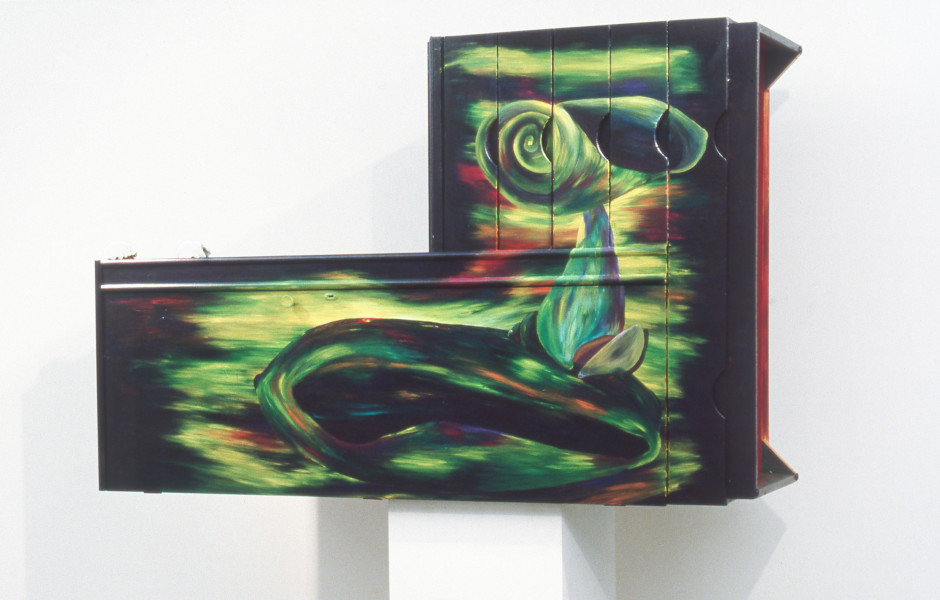 Dale Frank The freighter to Liliput moored on the Tiber, 1984; acrylic and mixed media on timber; 140 x 155 cm; enquire