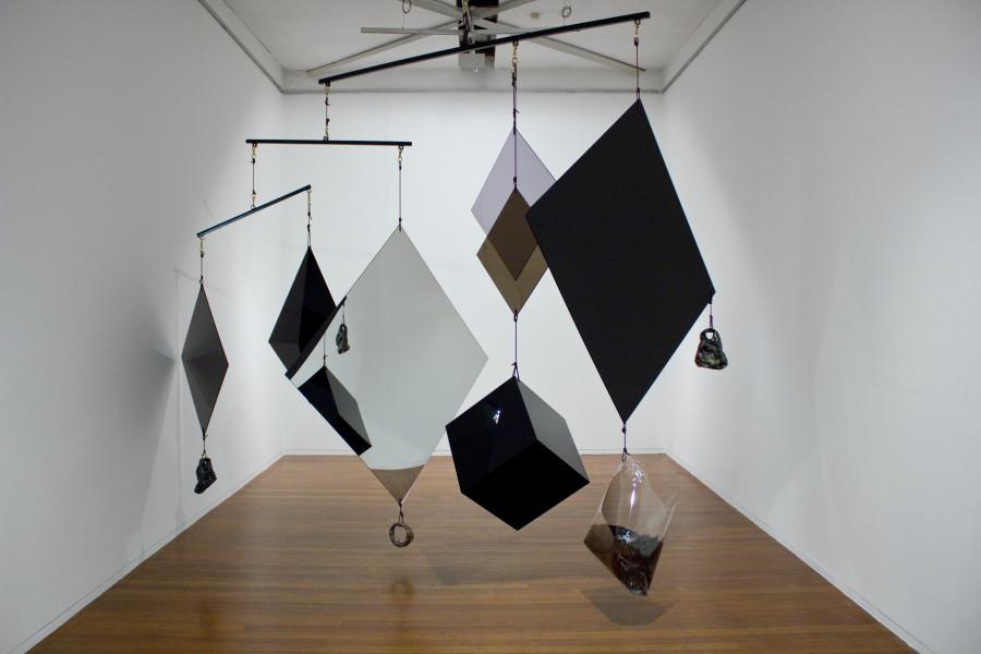 Mikala Dwyer Diviner, 2012; Perspex, acrylic, steel, rope, bronze, glazed ceramic, dirt, PETG, mandarin seeds; 310 x 410 x 410 ; enquire