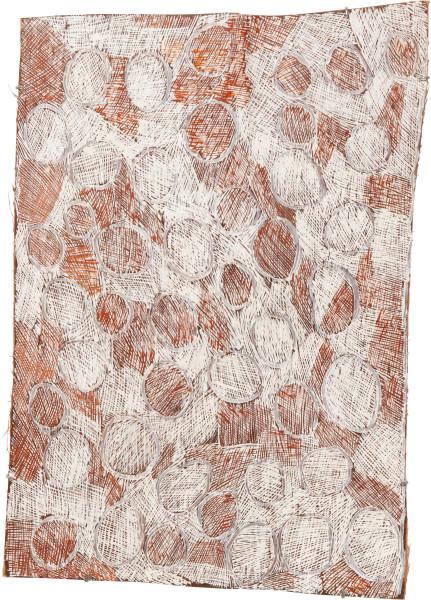Nyapanyapa Yunupingu 29. Mangutji #3, 2010; Natural earth pigments on bark 3710U; 106 x 76 cm; enquire